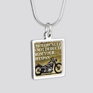 Time Spent On A Motorcycle Silver Square Necklace