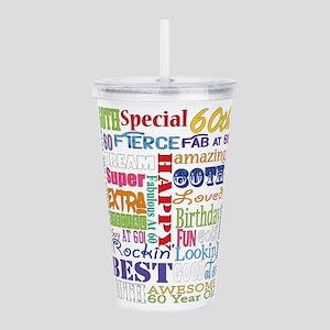 60th Birthday Typograp Acrylic Double-wall Tumbler