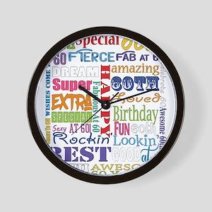 60th Birthday Typography Wall Clock