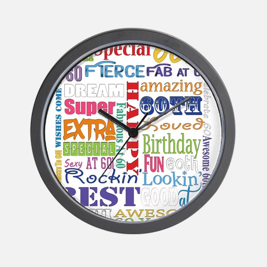 60th Birthday Typography Wall Clock