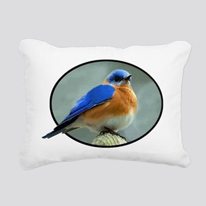 Bluebird in Oval Frame Rectangular Canvas Pillow