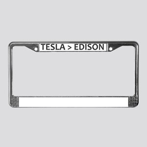 Tesla vs Edison License Plate Frame