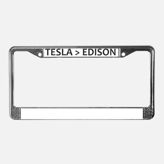 Tesla vs Edison License Plate Frame