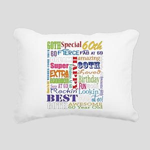 60th Birthday Typography Rectangular Canvas Pillow