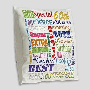60th Birthday Typography Burlap Throw Pillow