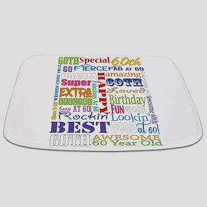 60th Birthday Typography Bathmat