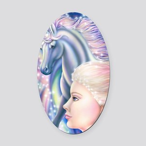 Unicorn Princess 16x20 Oval Car Magnet