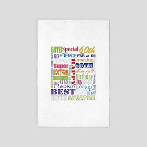 60th Birthday Typography 4' x 6' Rug