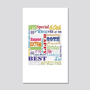 60th Birthday Typography 20x12 Wall Decal