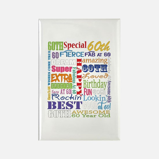 60th Birthday Typography Rectangle Magnet