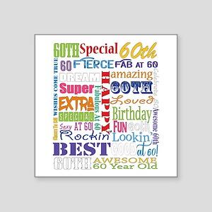 "60th Birthday Typography Square Sticker 3"" x 3"""