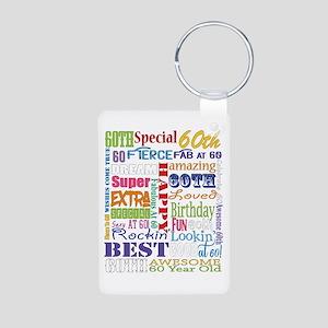 60th Birthday Typography Aluminum Photo Keychain
