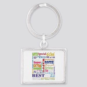 60th Birthday Typography Landscape Keychain