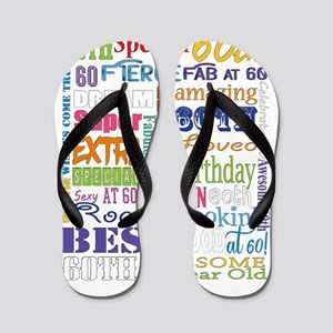 60th Birthday Typography Flip Flops