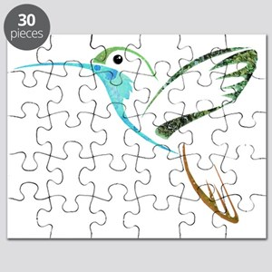 Blue and Green Patchwork Hummingbird Puzzle
