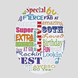 60th Birthday Typography Oval Ornament