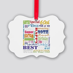 60th Birthday Typography Picture Ornament