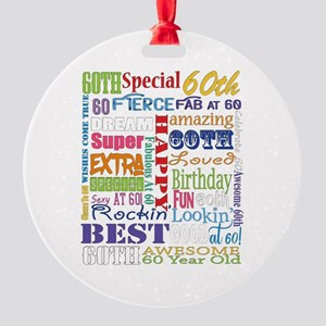60th Birthday Typography Round Ornament