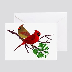 Cardinal Couple on a Branch Greeting Card