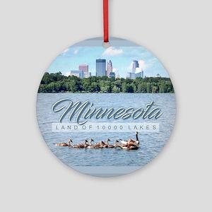 Minnesota 10,000 Lakes Round Ornament