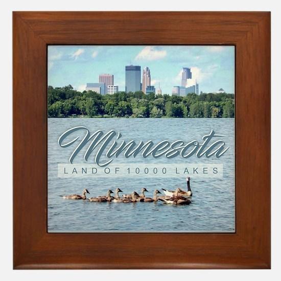 Minnesota 10,000 Lakes Framed Tile