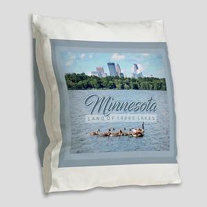 Minnesota 10,000 Lakes Burlap Throw Pillow