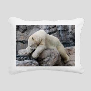 PolarBearWithPawOverFace Rectangular Canvas Pillow