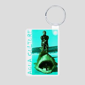 Aqua Culture on Beach with Aluminum Photo Keychain
