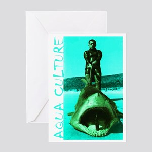 Aqua Culture on Beach with Shark Greeting Card