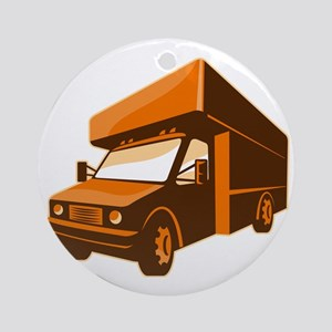 moving truck delivery van retro Round Ornament