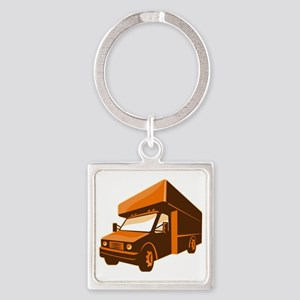 moving truck delivery van retro Square Keychain