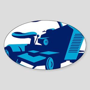 vintage ride on lawn mower retro Sticker (Oval)