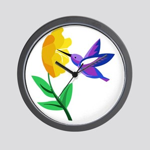 Cut Paper Hummingbird and Flower Wall Clock