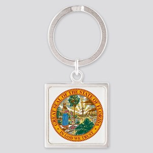Florida State Seal Square Keychain
