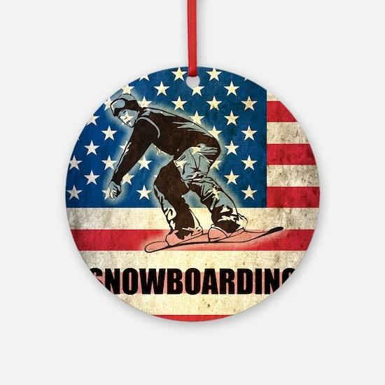 Grunge Snowboarding Round Ornament