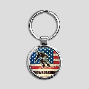 Grunge Snowboarding Round Keychain
