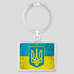Ukraine Grunge Flag Landscape Keychain