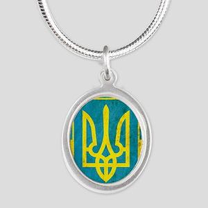 Vintage Ukraine Silver Oval Necklace