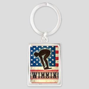 Grunge USA Swiumming Portrait Keychain