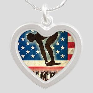 Grunge USA Swiumming Silver Heart Necklace