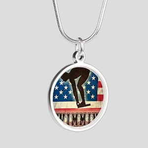 Grunge USA Swiumming Silver Round Necklace