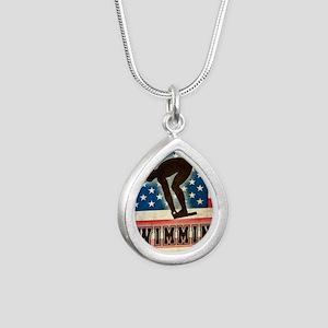 Grunge USA Swiumming Silver Teardrop Necklace