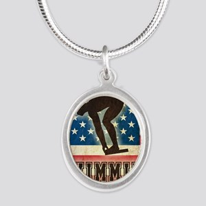 Grunge USA Swiumming Silver Oval Necklace