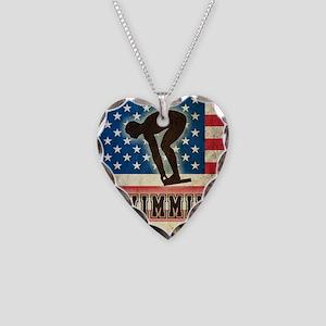 Grunge USA Swiumming Necklace Heart Charm
