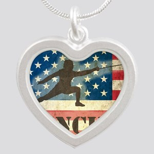 Grunge USA Fencing Silver Heart Necklace