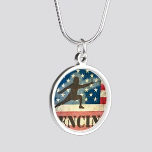 Grunge USA Fencing Silver Round Necklace