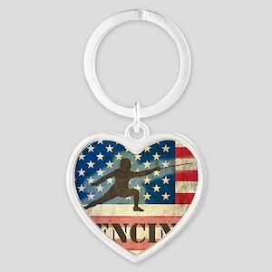 Grunge USA Fencing Heart Keychain