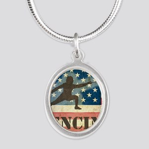 Grunge USA Fencing Silver Oval Necklace