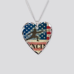 Grunge USA Fencing Necklace Heart Charm