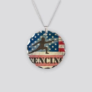Grunge USA Fencing Necklace Circle Charm